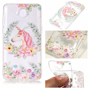 Pattern Printing Embossed TPU Case Accessory for Huawei Y5 (2017) / Y6 (2017) - Unicorn and Flowers