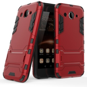 Cool Plastic TPU Kickstand Hybrid Shell Accessory for Huawei Y3 (2017) - Red