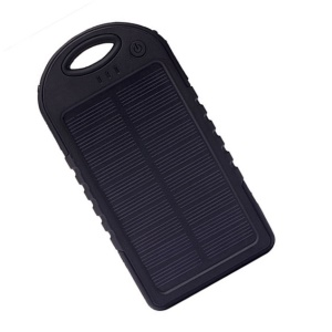 Waterproof/Shockproof/Dust-proof 8000mAh Dual USB Solar Power Battery Bank for Smartphones Tablets - Black