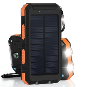 10000mAh Power Bank Convenient Solar Charger External Battery USB Charger Built in LED Light with Compass - Orange