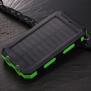 10000mAh Power Bank External Battery Solar Charger USB Charger Built in LED Light with Compass - Green