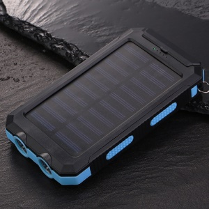 10000mAh Power Bank Portable Solar Charger External Battery USB Charger Built in LED Light with Compass - Blue
