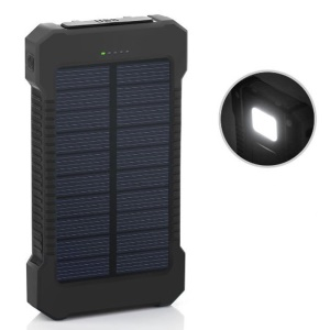 F5-Solar Power Bank 10000mAh Wasserdichte Externe Batterie mit LED-Licht für iPhone X/8/8 Plus etc. - Schwarz