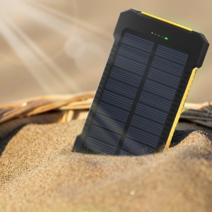 F5 Portable 10000mAh Solar Power Bank External Battery Charger with LED Light for iPhone X/8/8 Plus etc. - Yellow