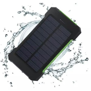 F5 Portable Dual USB Solar Waterproof Power Bank 10000mAh with LED Light for iPhone X/8/8 Plus etc. - Green