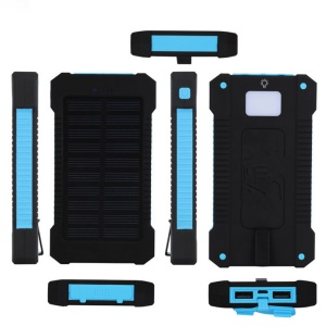 F5 10000mAh Portable Solar Power Bank Shockproof/Dust-proof Battery Bank for iPhone X/8/8 Plus etc. - Blue