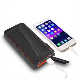 10000mAh Solar Power Bank Shockproof Dual USB External Battery with Dual LED Flashlights - Orange