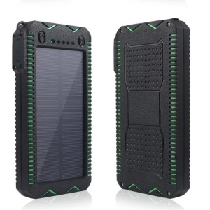 10000mAh Dual USB Solar Power Bank Dustproof Shockproof External Battery with Dual LED Flashlights - Green