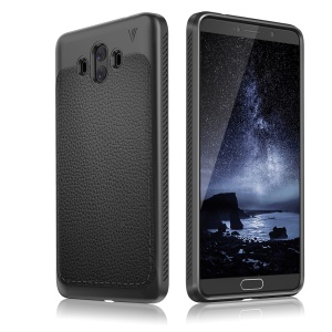 IVSO Gentry Series Litchi Texture Leather Coated Soft TPU Phone Case for Huawei Mate 10 - Black