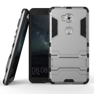 Solid PC + TPU Hybrid Shell Case with Kickstand for Huawei Honor Play 5X / Honor 5X - Grey