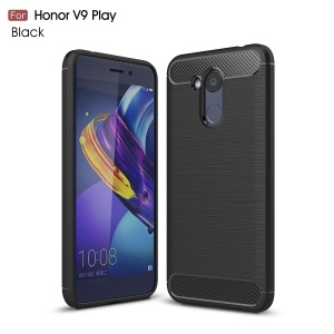 Carbon Fiber Texture Brushed TPU Mobile Phone Case for Huawei Honor 6C Pro / V9 Play - Black