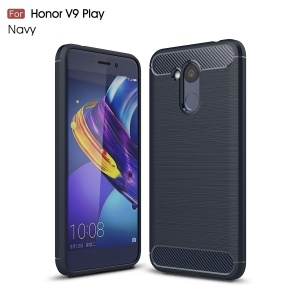 Carbon Fiber Texture Brushed TPU Back Casing for Huawei Honor 6C Pro / V9 Play - Blue