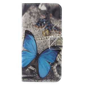 Patterned Leather Stand Casing Cover for Huawei P9 lite mini / Enjoy 7 / Y6 Pro (2017) - Blue Butterfly