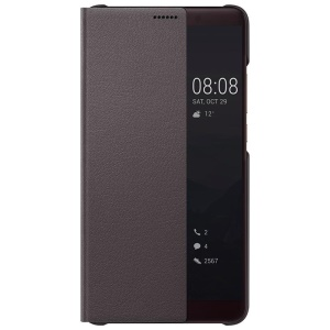 HUAWEI Side View Window Leather Smart Phone Cover for Huawei Mate 10 - Brown