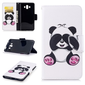 Pattern Printing PU Leather Wallet Stand Phone Shell for Huawei Mate 10 - Cute Panda