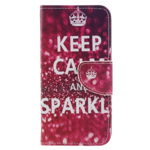 Cross Texture Pattern Printing Leather Wallet Mobile Case for Huawei P9 lite mini / Enjoy 7 / Y6 Pro (2017) - Keep Calm and Sparkle