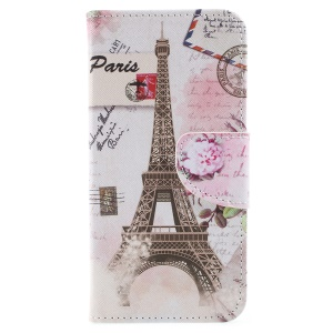Cross Texture Patterned Leather Wallet Stand Cover for Huawei P9 lite mini / Enjoy 7 / Y6 Pro (2017) - Eiffel Tower and Flower