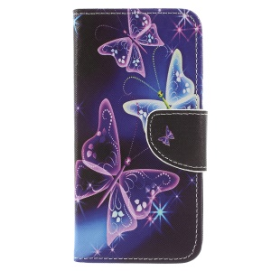 Cross Texture Pattern Printing Leather Wallet Protective Case for Huawei P9 lite mini / Enjoy 7 / Y6 Pro (2017) - Pretty Butterflies