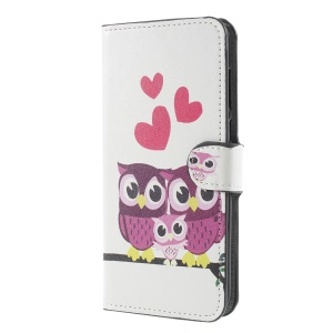 Pattern Printing Stand Wallet Leather Magnetic Cell Phone Case for Huawei Mate 10 Lite / nova 2i / Maimang 6 - Owl Family
