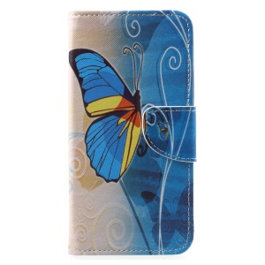 Patterned Wallet Stand PU Leather Case Cover for Huawei Mate 10 - Blue Butterfly