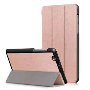 For Huawei MediaPad T3 7.0 3G Version Tri-fold Stand Leather Tablet Cover - Rose Gold