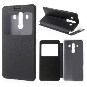 View Window Leather Phone Case with Stand for Huawei Mate 10 Pro - Black