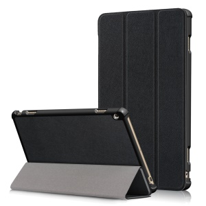For Huawei Honor Waterplay Tri-fold Stand Leather Case - Black