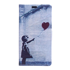 Pattern Printing Leather Wallet Case Phone Shell for Huawei Mate 10 Pro - Cute Girl Flying Heart Shaped Balloon