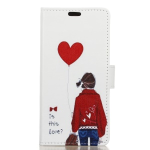 Pattern Printing Leather Stand Cover with Card Slots for Huawei Mate 10 Pro - Adorable Girl & Heart Shaped Balloon
