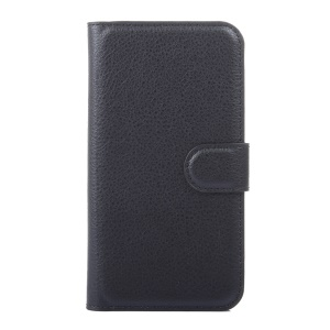 Litchi Grain Leather Wallet Case for Huawei Y5 Y560 - Black