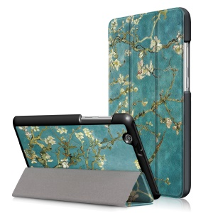 Pattern Printing Tri-fold Stand Leather Case for Huawei MediaPad T3 7.0 3G - Peach Blossom