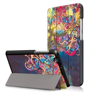 Pattern Printing Tri-fold Stand Leather Case for Huawei MediaPad T3 7.0 3G - Beautiful Tree