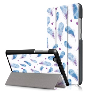 Pattern Printing Tri-fold Stand Leather Case for Huawei MediaPad T3 7.0 3G - Feathers