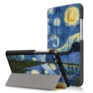 Pattern Printing Tri-fold Stand Leather Case for Huawei MediaPad T3 7.0 3G - Starry Night Oil Painting