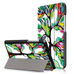 Pattern Printing Tri-fold Stand Leather Case for Huawei MediaPad T3 7.0 3G - Colored Tree Painting