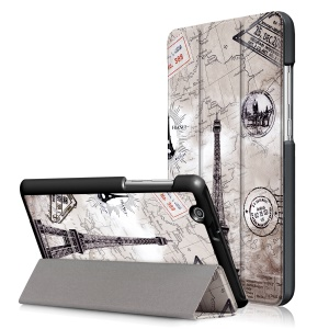 Patterned Tri-fold Stand Leather Tablet Cover Shell for Huawei MediaPad T3 7.0 3G - Eiffel Tower and Map