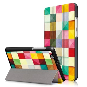 Pattern Printing Tri-fold Stand Leather Case for Huawei MediaPad T3 7.0 3G - Colorful Triangles Grids