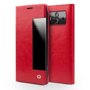 QIALINO View Window Smart Genuine Leather Flip Case for Huawei Mate 10 - Red