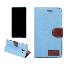 Jeans Cloth Leather Card Holder Cover for Huawei Mate 10 - Baby Blue