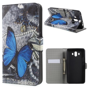 Printing Pattern Wallet Leather Case with Stand for Huawei Mate 10 - Blue Butterfly
