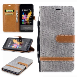 Two-tone Jean Cloth PU Leather Wallet Stand Case Accessory for Huawei Honor 7X - Grey