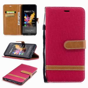 Two-color Jean Cloth PU Leather Wallet Stand Mobile Cover for Huawei Honor 7X - Red