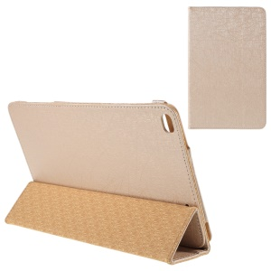 Lines Texture Tri-fold Stand Leather Cover for Huawei MediaPad T1 10 - Gold