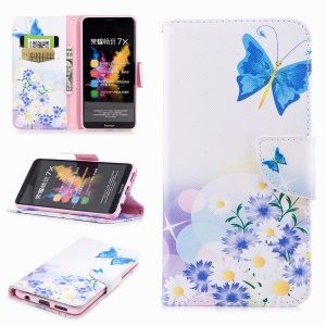 Pattern Printing PU Leather Wallet Stand Phone Shell for Huawei Honor 7X - Blue Butterfly and Daisy