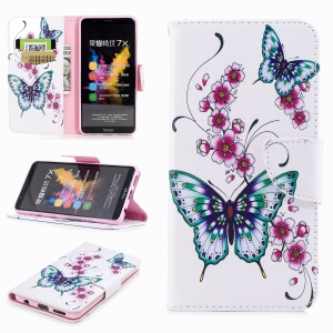 Pattern Printing Leather Wallet Case for Huawei Honor 7X - Butterfly and Flower
