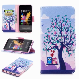 Pattern Printing Leather Wallet Cover for Huawei Honor 7X - Owl and Tree
