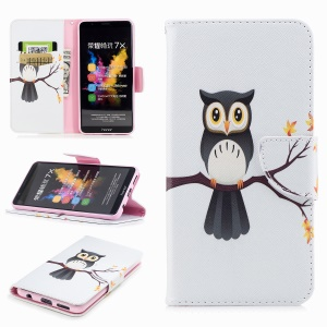 Pattern Printing Leather Wallet Cover Case for Huawei Honor 7X - Owl on the Branch