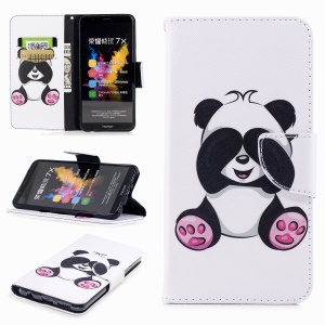 Pattern Printing PU Leather Wallet Case for Huawei Honor 7X - Adorable Panda