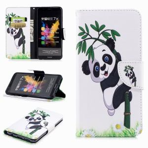 Pattern Printing Wallet Leather Stand Case for Huawei Honor 7X - Lovely Panda