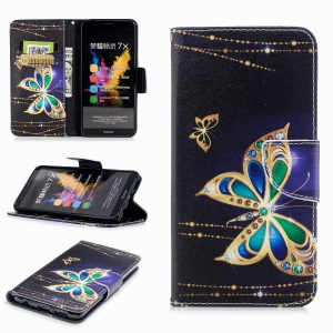 Pattern Printing Wallet Leather Magnetic Case for Huawei Honor 7X - Vivid Butterflies
